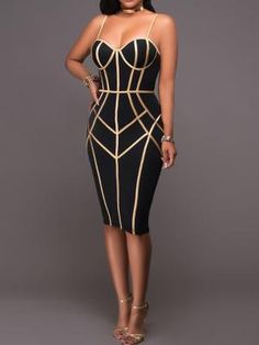 3d947ef7f53 Spaghetti Strap Contrast Binding Bodycon Dress - Black (S M L XL