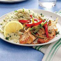 Tilapia with Bell Peppers and Parsley-Spiked Couscous... Rachael Ray
