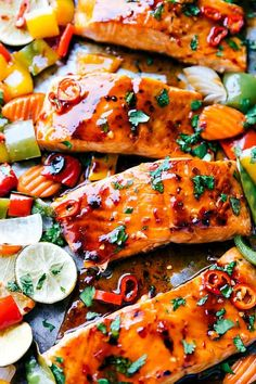 Sheet Pan Thai Glazed Salmon with Vegetables is an incredible all in one meal that has the best flavor. Salmon Recipes, Fish Recipes, Seafood Recipes, Cooking Recipes, Healthy Recipes, Dinner Recipes, Dinner Ideas, Barbecue Recipes, Thai Recipes