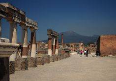 https://flic.kr/p/cbUoWS | Vesuvian Way | Mt. Vesuvius, an active volcano, looms over Pompeii, which was destroyed in A.D. 79. Canon EF-S 18-55mm f/3.5-5.6 IS ©2012 Patrick J Bayens