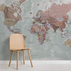 Pink and White World Map Wall Mural - Murals Wallpaper World Map Mural, Kids World Map, World Map Wallpaper, World Map Poster, Wall Wallpaper, Feature Wallpaper, Wallpaper Designs, Flower Wallpaper, Standard Wallpaper