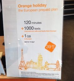 """A sign for the """"Orange Holiday"""" package geared to international tourists in France. Photo: EuroCheapo"""