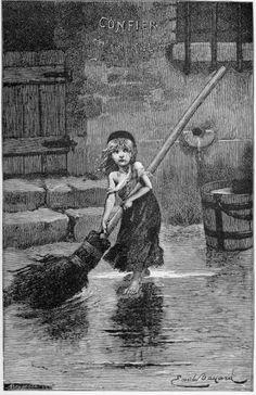 Young Cosette Sweeping, Original Engraving 1886 I © Émile Bayard