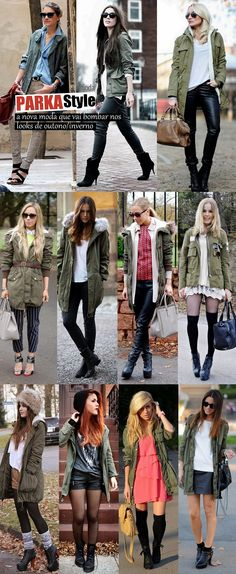 Many ideas on how you can style your parka! Casual - dressed up, autumn winter and spring! New Outfits, Cool Outfits, Casual Outfits, Fashion Outfits, Nail Fashion, Fall Winter Outfits, Autumn Winter Fashion, Casual Winter, Parka Outfit