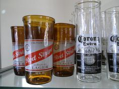 Recycled Beer Bottles made into Usable glasses.