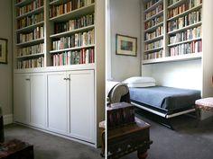 Murphy bed bookshelf hide-a-way hidden wall bed reading guest room. More