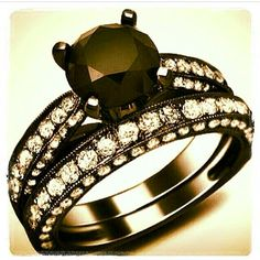 Black diamond ring, jewelry, accessories