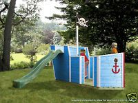 Captn Roger Wooden Outdoor Boat Playhouse Pirate Ship Climbing Frame With Slide