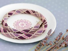 Bead Crochet Necklace Plum Jam crochet rope for by Chudibeads, $62.00