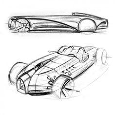 Bugatti Type 35 by Jannis Carius - Design Sketches