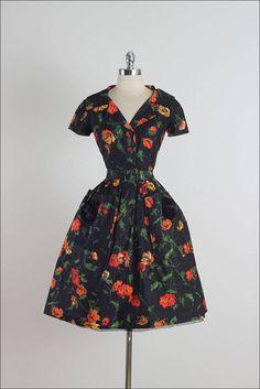 Vintage 1950s Patullo-Jo Copeland Black Floral Dress
