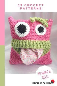 Pyjama monsters case crochet pattern: Create fun monsters that love to gobble up pyjamas for safe keeping until bedtime. Crochet for children. Crochet Home, Love Crochet, Crochet Gifts, Beautiful Crochet, Crochet Baby, Knit Crochet, Crotchet, Range Pyjama, Crochet Stitches