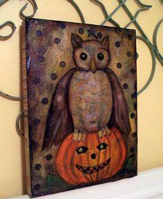 Halloween Mixed Media owl on Pumpkin Vintage paintingg