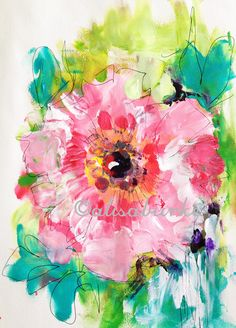 Alisa Burke — pink flower fields 8x10 matted art print