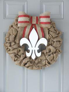 Fall Burlap Wreath - Fleur De Lis & Red Stripe -  Gift, Summer Wreath, Front Door Wreath, Hospital Wreath, Rustic Wreath, Louisiana Wreath