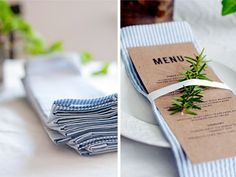 """This one had me at """"no-sew!"""" I love personalized linens at a wedding: napkins, table runners, or all of the above. But this DIY scores major bonus points for needing no sewing skills. And I love that seersucker fabric too."""