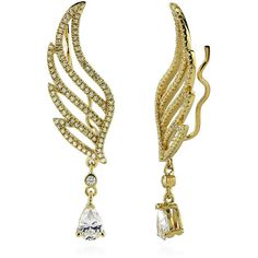 BERRICLE BERRICLE Gold Plated Sterling Silver CZ Angel Wings Fashion... ($79) ❤ liked on Polyvore featuring jewelry, earrings, clear, cuff earrings, women's accessories, clear crystal earrings, sterling silver cubic zirconia earrings, angel wing earrings, clear earrings and gold plated jewelry