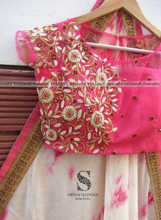 Beautiful white designer saree and pink color designer blouse with hand embroidery thread and bead work.