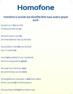 Homofone1 Afrikaans Language, Afrikaanse Quotes, Kids Study, School Posters, Parts Of Speech, School Subjects, Preschool Worksheets, Study Notes, Kids Learning