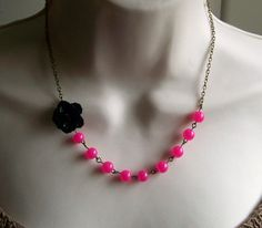 Black Flower Beaded Necklace with Hot Pink Glass Beads. Bridal Jewelry. Bridesmaid Necklace.      From lakeshorecreations4u