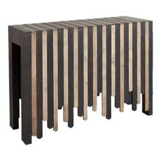 "Perfect for displaying a vase of lush blossoms or an array of framed family photos, this eye-catching console table showcases a geometric apron, block legs, and a stripe design.    Product: Console table  Construction Material: Wood  Color: Dark brown and natural  Features: Geometric apron Contrasting wood Block legs  Dimensions: 34"" H x 48"" W x 16.5"" D"