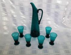 Vintage Finnish Glass - Nanny Still T/335 pitcher and set of 6 glasses made by the Riihimäki Glass Factory. Finland Glass