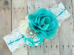 Teal and White Girls Flower Headband with by RosesAndRocketships Pin for later or click here for an instant 20% off: eepurl.com/biScEX