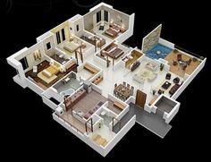 Denah rumah empat kamar tidur