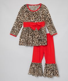 Look at this Red Cheetah Bow Top & Ruffle Pants - Toddler & Girls on #zulily today!