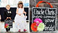 """Wedding Craft Tutorial: Chalkboard inspired """"here comes your bride"""" sign to announce bride's arrival at a wedding."""