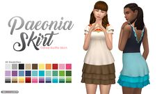 Paeonia Skirt - A high-waisted, tiered ruffle skirt! Comes in 20 solid colors and 10 ombre-esque swatches.  [[MORE]]Information: • The Sims 4 • 30 swatches • Skirt category • Teen - Elder (Females) •...