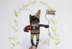 Fil À Sophie vintage inspired black cat harvest spun cotton ornament  - jack o lantern Nostalgische Wattefigur schwarze Katze von FilASophie mit Kürbis Herbst Dekoration