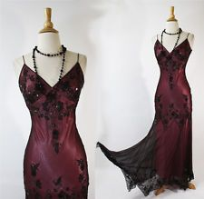 PAPELL BOUTIQUE 1920s 30s VTG Style Silk Beaded Flapper Gatsby Party Dress 8 M
