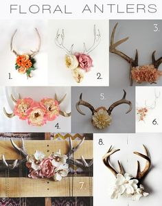 I'd let hubby bring his antlers out of the basement if he would let me put flowers on them! A Simple Kind of Life: Inspiration: Floral Antlers
