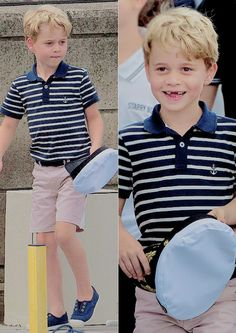 Prince George watches the inaugural King's Cup regatta hosted by the Duke and Duchess of Cambridge to raise awareness and funds for eight of TRH's patronages on the Isle of Wight on August Duchess Kate, Duke And Duchess, Duchess Of Cambridge, Prince George Alexander Louis, Prince William And Catherine, Kate Middleton Family, Royal Family Pictures, Princesa Charlotte, Baby Prince