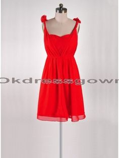 Off Shoulder Chiffon Cheap Red bridesmaid dress with Handmade Flower