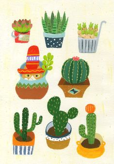 """for exhibition in 2017 """" 1→MORE """" Cactus, Planter Pots, Notes, Illustration, Report Cards, Notebook, Illustrations"""