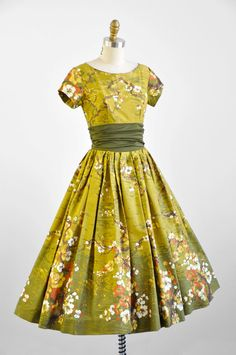 1950s dress / 50s dress / Green Japanese Floral Orange Blossom Print Party Dress. $424.00, via Etsy.