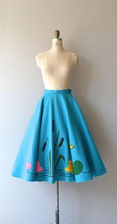 Cattails skirt vintage 50s skirt 1950s felted wool by DearGolden