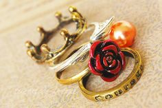 Go Gryffindor - a mix of stacking rings inspired by the Harry Potter books. $17.00, via Etsy.