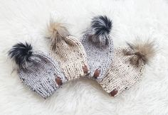 www.wildchilddesigns.ca Tan poms are BACK and it makes me happy. And I'm loving the marble grey + onyx pom combo ♡♡
