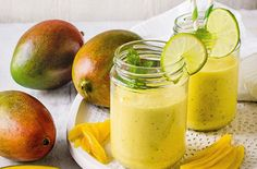 This gorgeous frozen fruit smoothie is thick and creamy and is dairy-free! Learn how to make this fruity smoothie on Tesco Real Food Nectarine Smoothie, Mango Smoothie Recipes, Smoothie Recipes For Kids, Mango Recipes, Good Smoothies, Smoothie Drinks, Fruit Smoothies, Juice Recipes, Smoothie Bowl