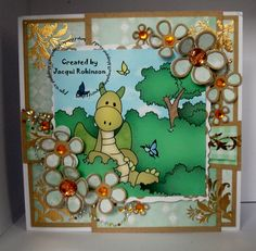 Dragons Lair Designs O Baby Mine Kit Flutterbyes topper layers layered onto Kraft Card. Sue Wilson Open & Closed Camellia dies