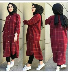 مدل مانتو چهارخونه جدید 2019 Tesettür Mayo Şort Modelleri 2020 - Tesettür Modelleri ve Modası 2019 ve 2020 Modern Hijab Fashion, Street Hijab Fashion, Hijab Fashion Inspiration, Islamic Fashion, Muslim Fashion, Fashion Outfits, Hijab Style Dress, Casual Hijab Outfit, Hijab Chic