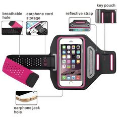 Samsung Galaxy S6 Edge Plus Adjustable Light Weigh Sports Armband - Ideal for Gym, Running, Jogging, Walking, Hiking, Workout - Hot Pink Sports Armband - edskymall