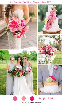 Bright Pink Wedding Ideas In 2020 8 Hottest Summer Wedding Flowers Ideas for 2019 Pink Wedding Colors, Wedding Color Schemes, Bright Color Wedding, Summer Wedding Flowers, Fuschia Wedding, Hot Pink Weddings, Summer Wedding Decorations, Summer Weddings, Ceremony Decorations