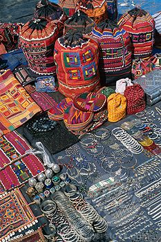 SuperStock - Local crafts and jewelry on display, Anjuna Market, Goa, India - I…