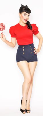 *In Stock & Ready to ShipRockabilly Girl by Bernie Dexter**Red 40's Style Pin Up Grable Top - XS-XL