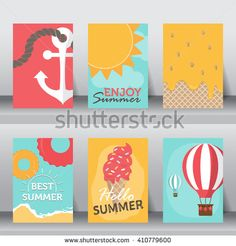 summer, holiday, vacation poster set. flat design. can be use for greeting and…