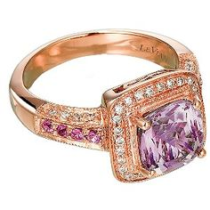 LeVian 14CT Strawberry Gold 0.20CT Diamond & Amethyst Ring - Product number 6784615 @ Earnest Jones ~Love & Life
